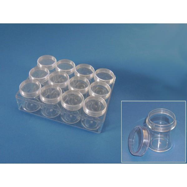 Plastic box met 12 doosjes 38 h 50 mm for Plastic doosjes