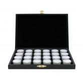 Edelsteencassette, 40 Ronde plasticdoosjes Ø 32 mm. wit/zwart