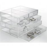 Transparant Acrylglas ladekastje met 4 kleine en 2 grote laatjes