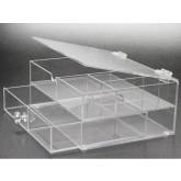 Transparant ladekastje met 1 lade en 4 vakken met klapdeksel