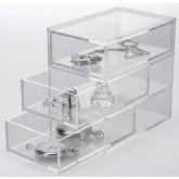 Transparant acrylglas ladekastje met 3 laatjes