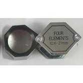 Diamantloupe 10x vergr. 4-lenzig