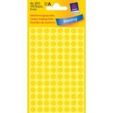 Zelfklevende etiketten, rond Ø 8mm, geel, 416 St.